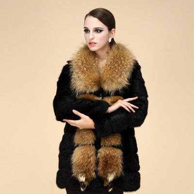 Genuine  rabbit Fur Coat with big raccoon fur collar - Knot Bene