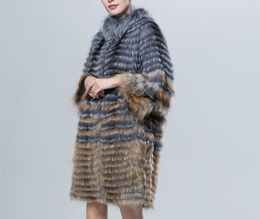 Natural Silver Fox And Red Fox Fur Coat