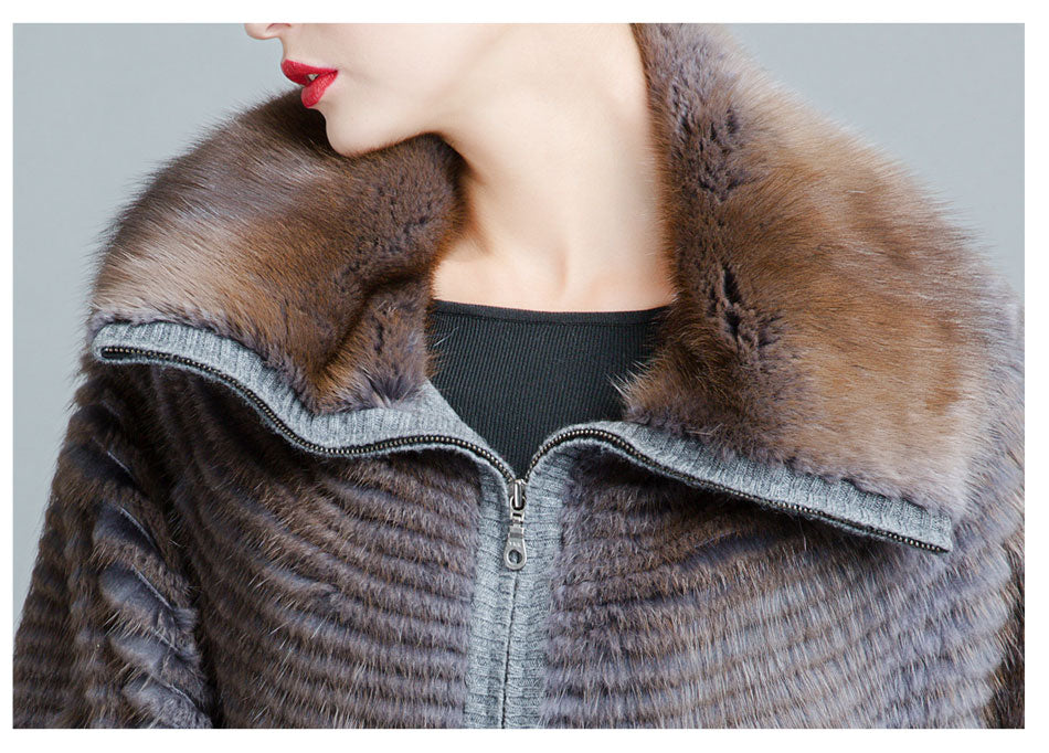 Lapel Bat Sleeves Genuine Mink Fur Coat