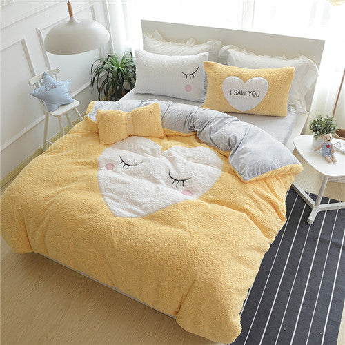 Pink Heart-Shaped Design Bedding Set Winter Warm Bed - Knot Bene