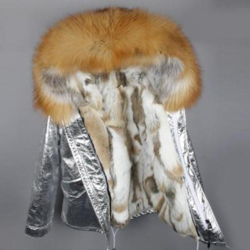 Silver Genuine Raccoon Fur Collar Hooded Jacket