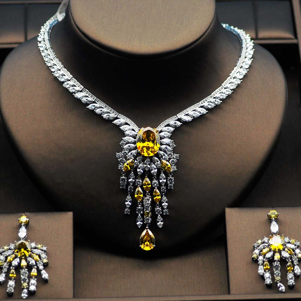 Yellow Rhinestone High Quality Big Flower Shape Bridal Jewelry Set