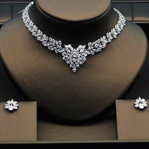 Colorful Cubic Zircon White Gold Color Necklace Set