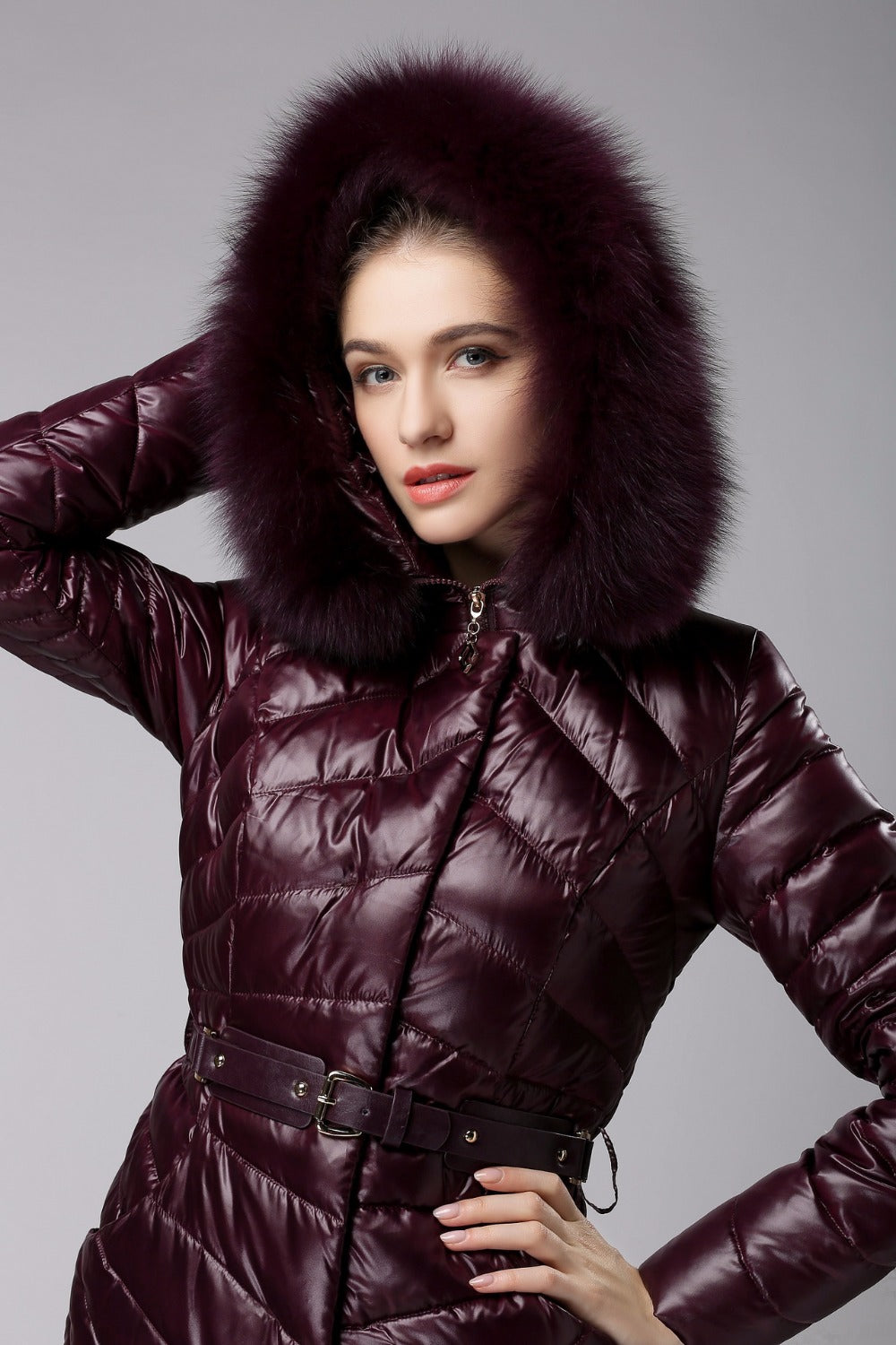 Elegant Fox Fur Collar Warm White Duck Down Coat - Knot Bene