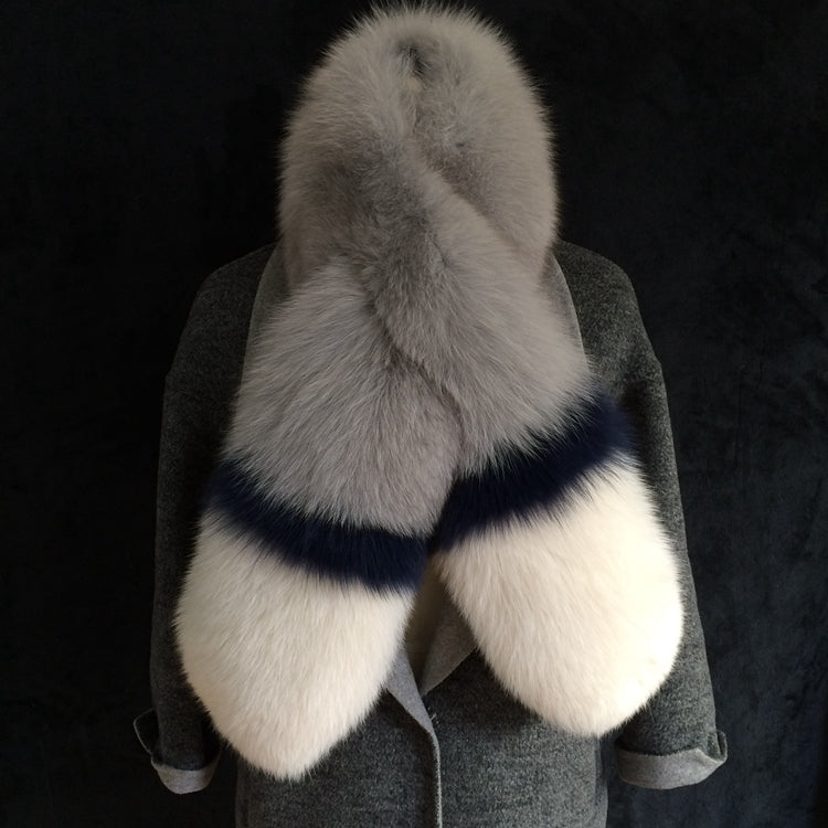Long & Wide Three Tones Genuine Fox Fur Scarf - Knot Bene