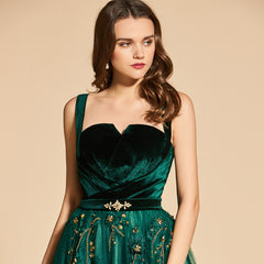 Green Spaghetti Strap Long evening Dress - Knot Bene