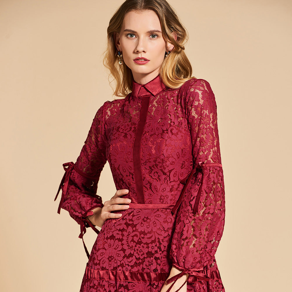 Red High Neck Lace Evening Dress