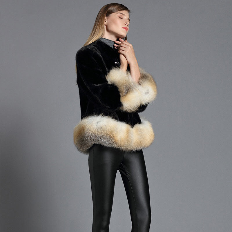 Genuine Mink Fur With Fox Fur Sashes Jacket - Knot Bene