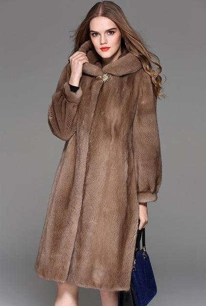 Genuine Mink Fur Long Style With Sashes Coat - Knot Bene