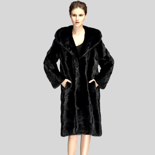 Genuine Black Mink Fur Long Coat - Knot Bene