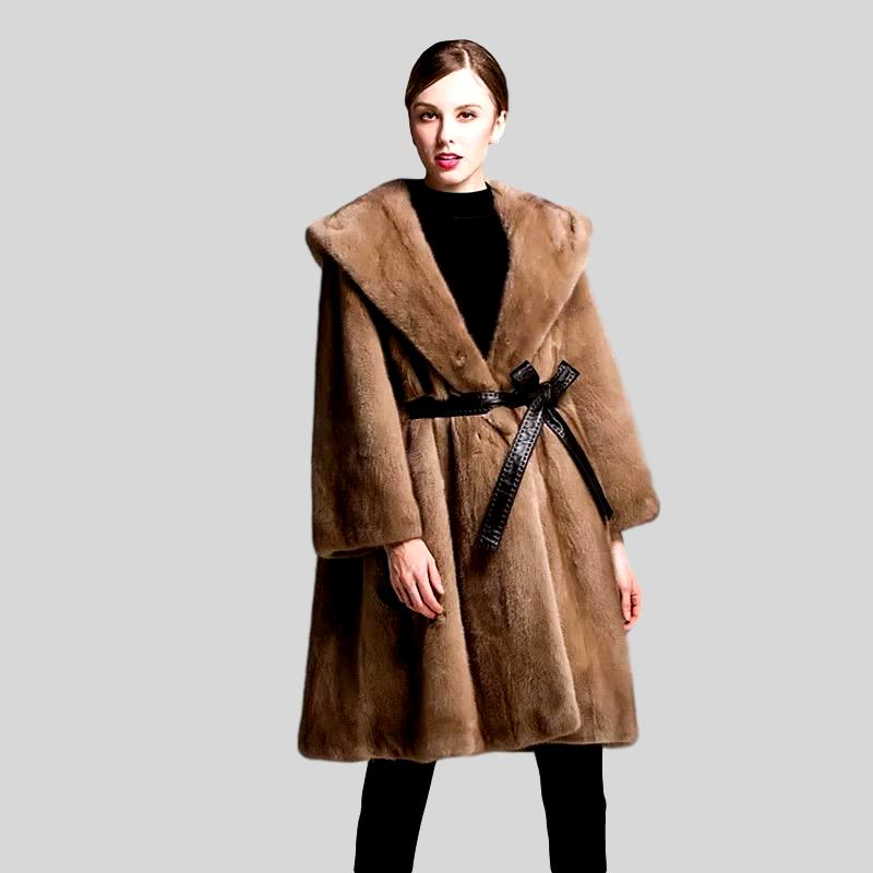 Genuine Mink Long Style with Leather Belt  Fur Coat - Knot Bene