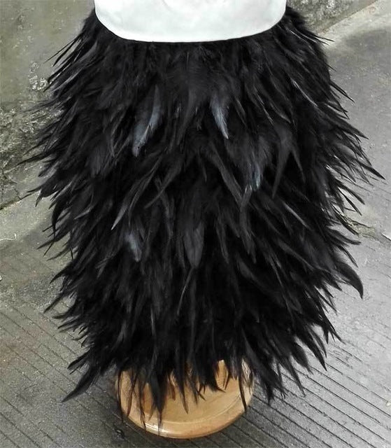 Knee Length Rooster Hackle Feather Skirt - Knot Bene
