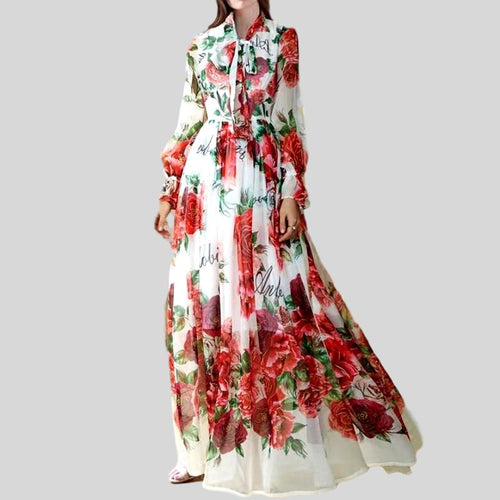 Runway Maxi Flower Printing Bow Collar  Dress