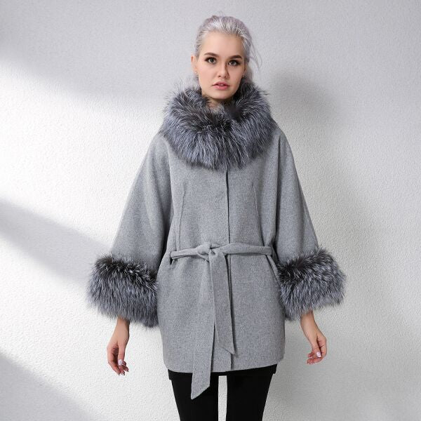 Cashmere With Natural Real Fox Fur Coat