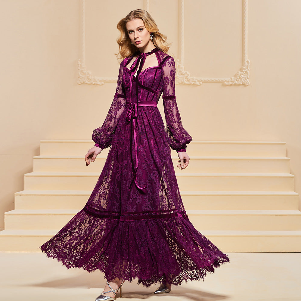 A Line Elegant Button Lace Sashes Long Sleeves Ankle-Length Evening Dresses