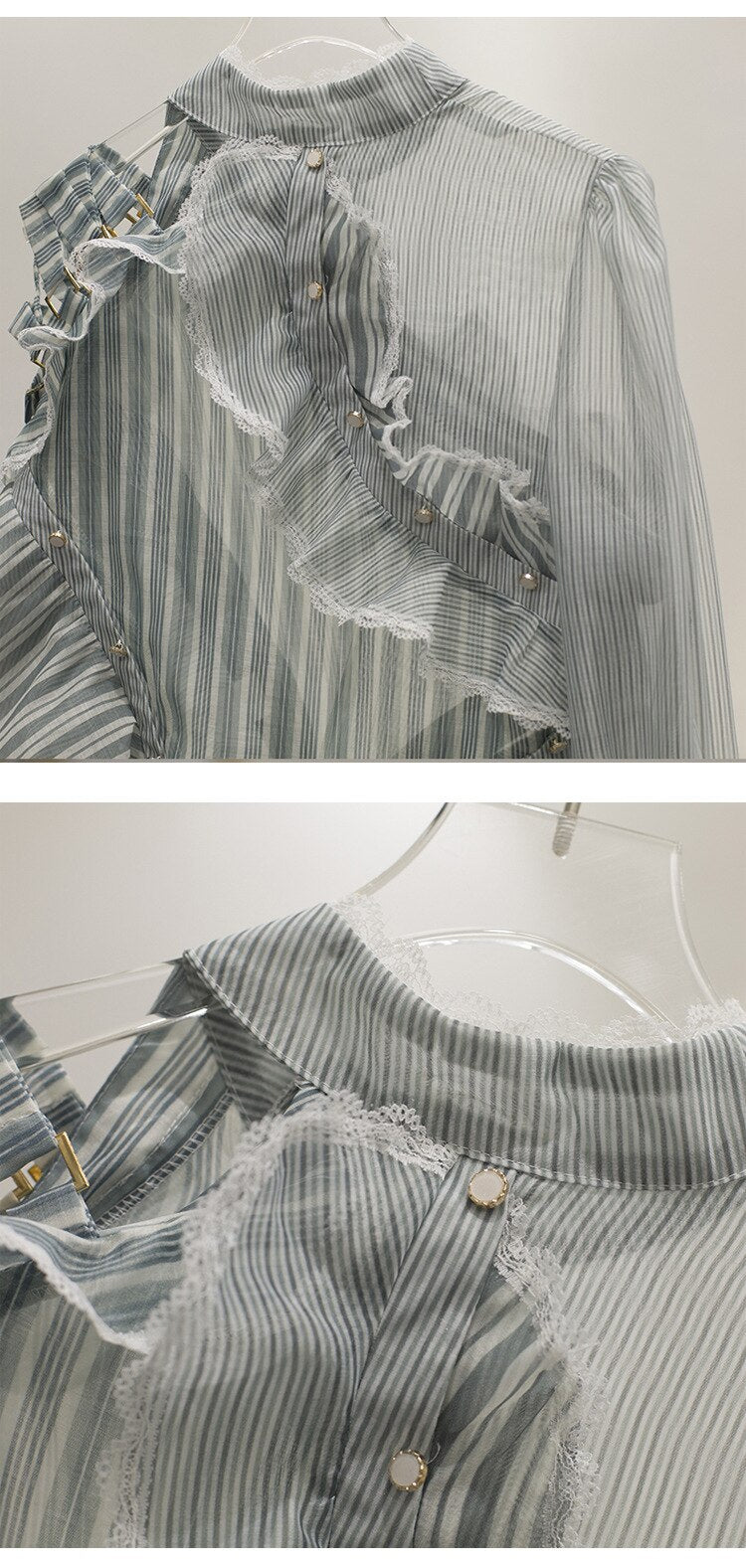 Casual Stripe Patchwork Long Sleeve Off Shoulder Ruffle Top