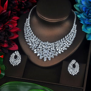 Sparkling Marquise Cut Cubic Zircon Big Full Jewelry Set