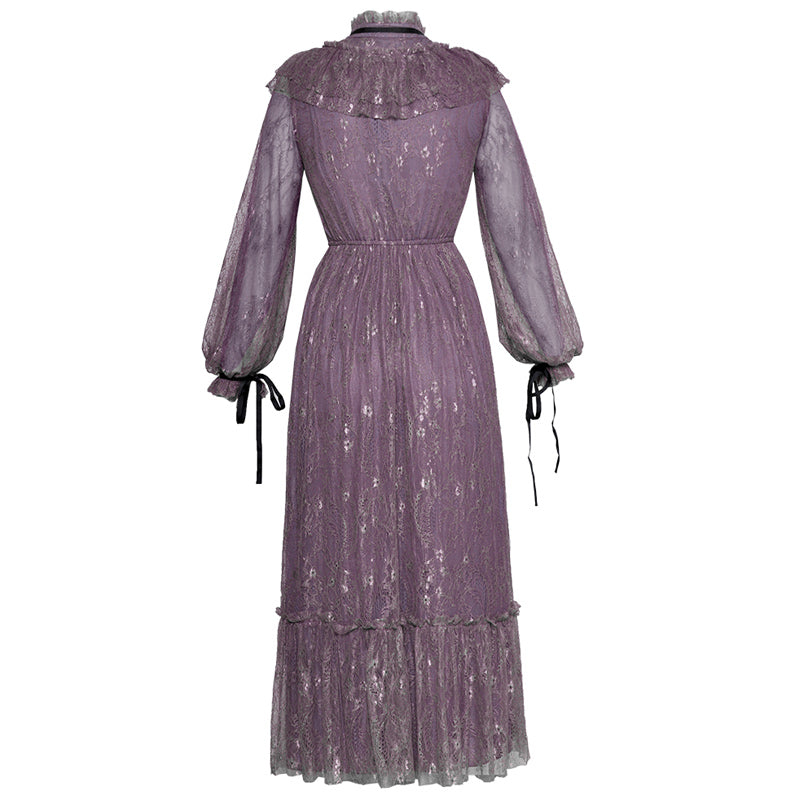 Purple Lace Runway Party Vintage Ruffle Elegant Summer Dress