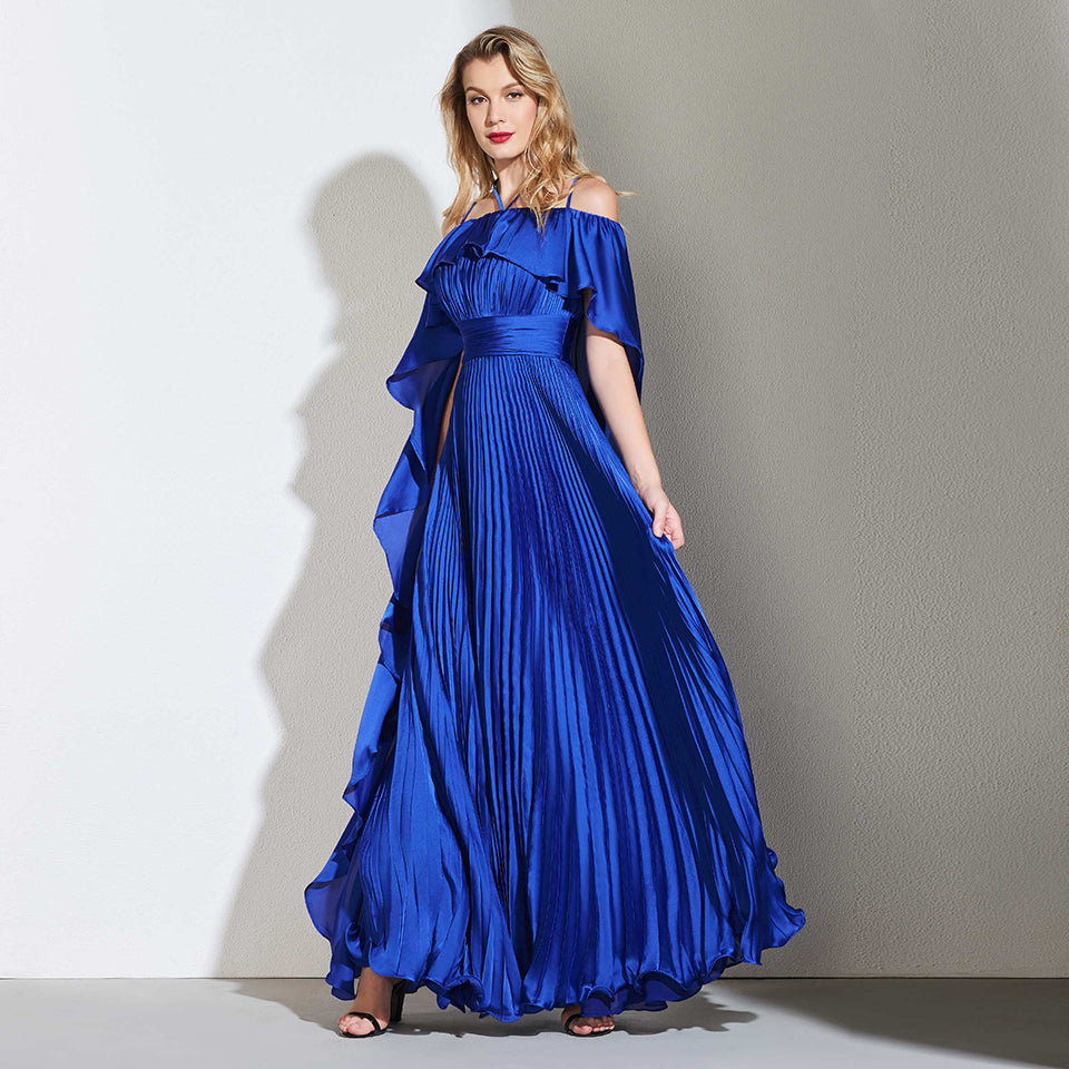 Dark Royal Blue A Line Pleats  Evening Dress