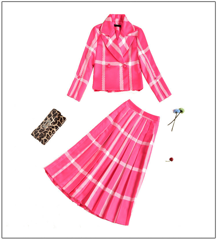 Long Sleeve Turn-Down Collar with Skirt Set