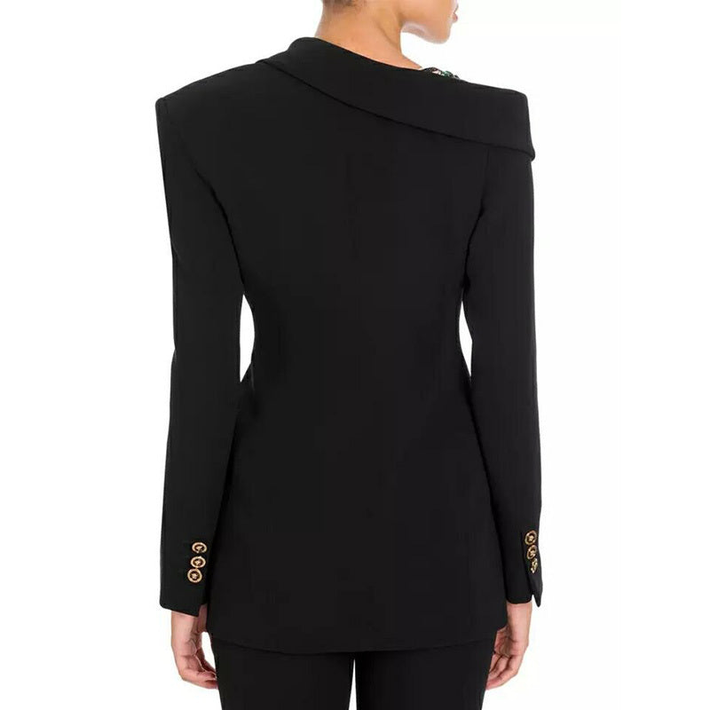 Off Shoulder Long Sleeve Slim  Black Blazer