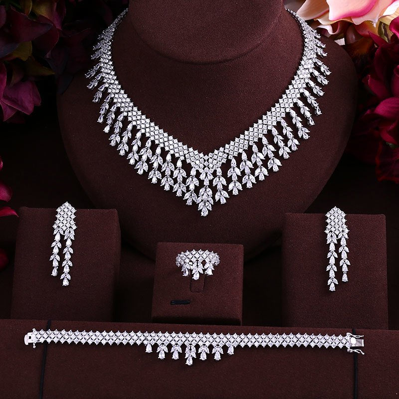 Luxury Cubic Zircon Tassel  4pcs Jewelry Set