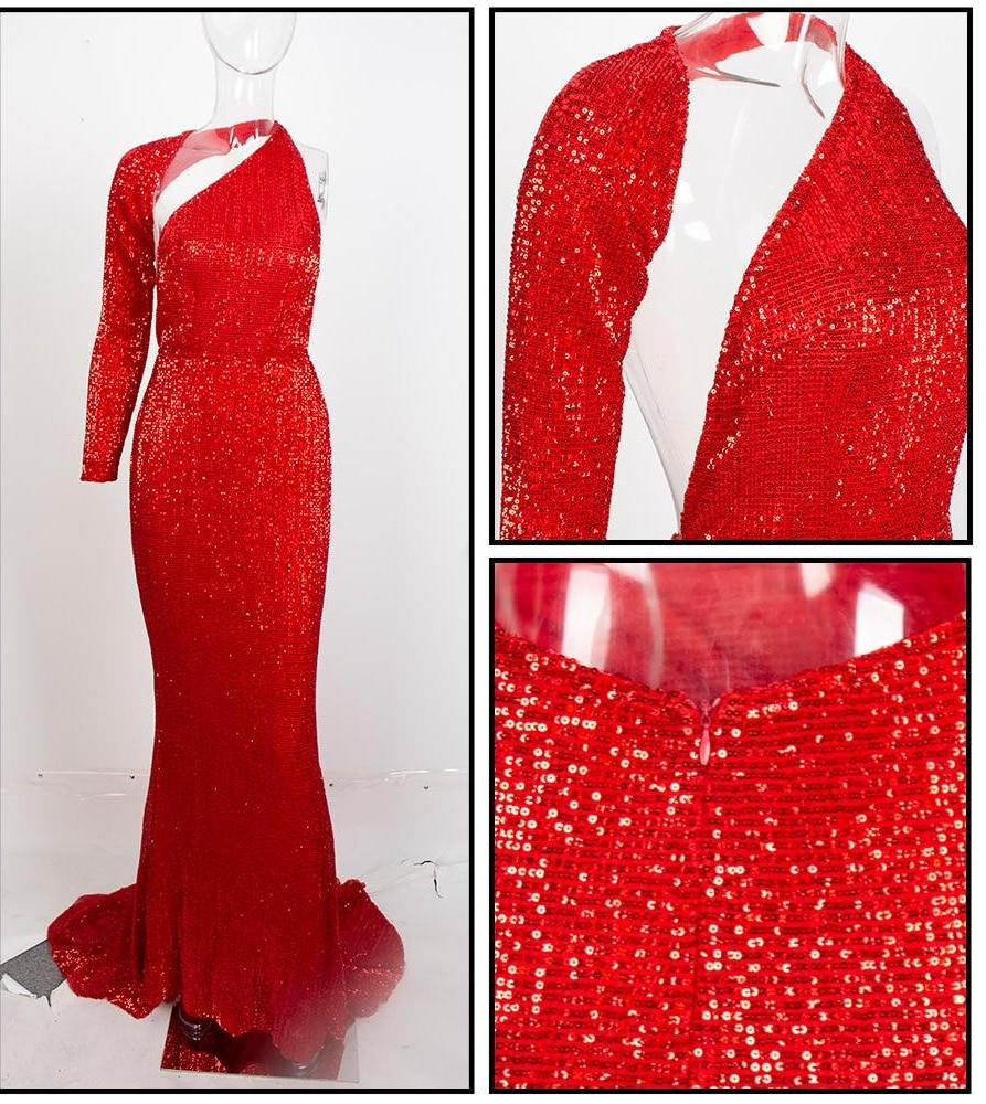 Open Back Separate Sleeve Elastic Sequins Long Dress