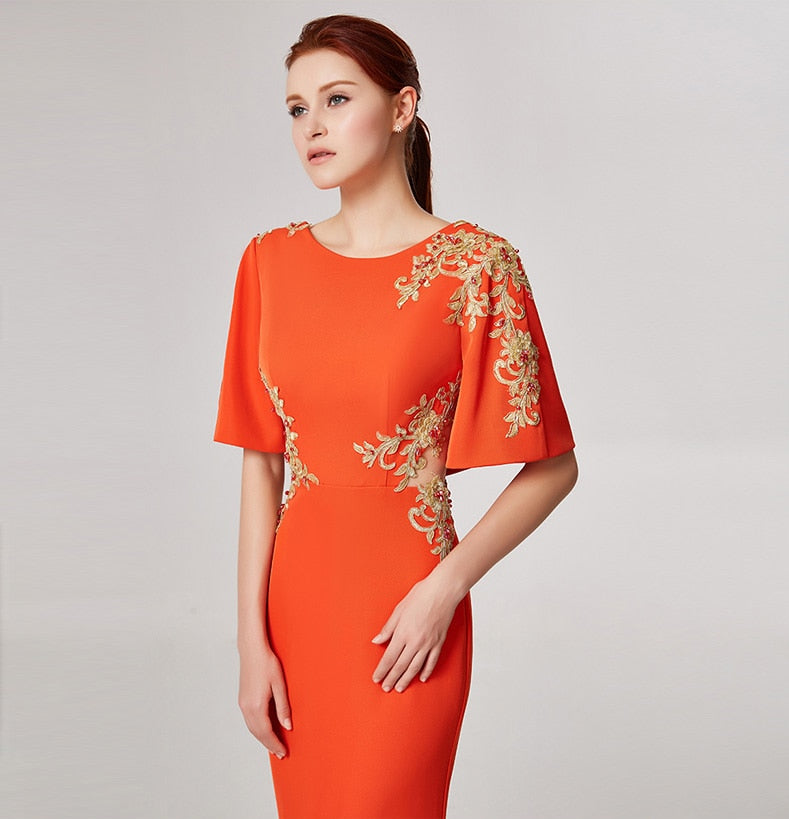 Flowers Gold Wire Embroidery  Backless Short Sleeve Floor-Length Dress