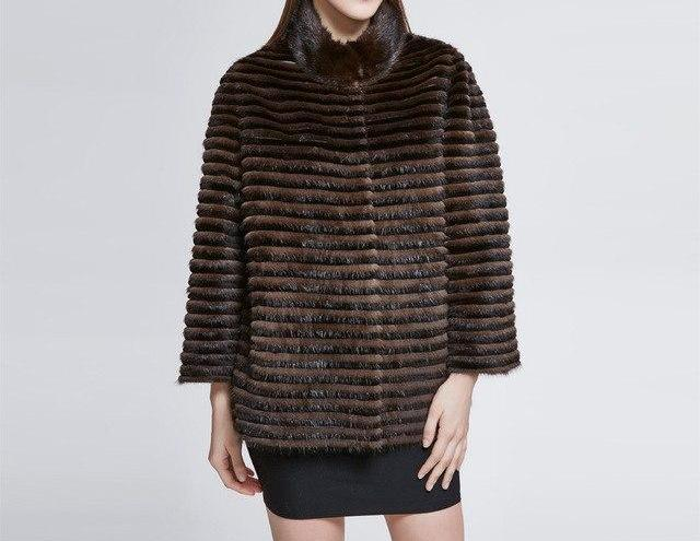 Short Real Mink Fur Stand Collar Coat