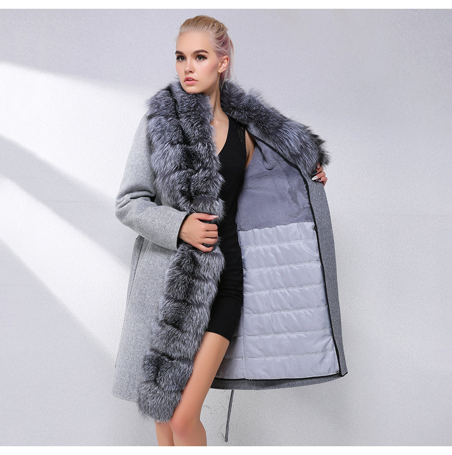 Luxury Cashmere with Large Fox Fur Collar Wool Blend Winter Real Fur Coat