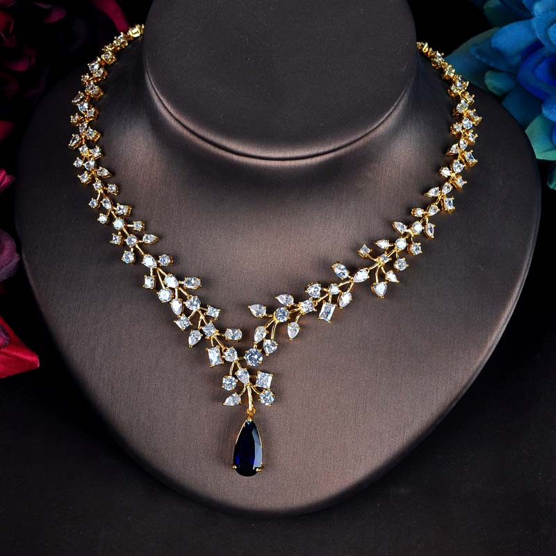 Charm Blue Water Drop Jewelry Set