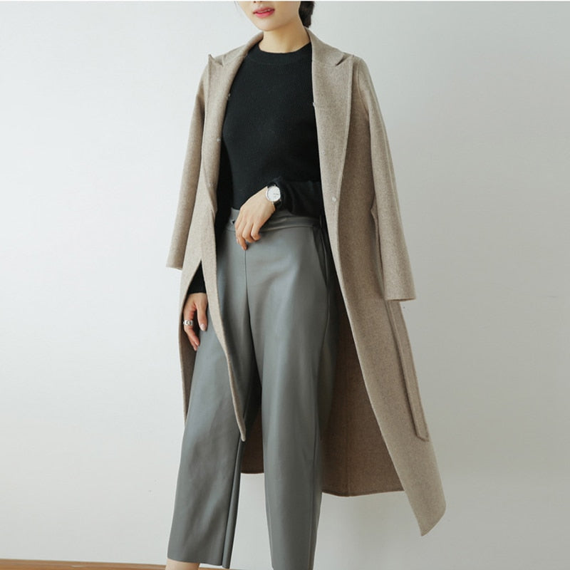 Wool Cloak Fox Fur Collar Removable Woolen Coat