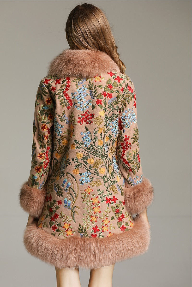 Genuine Fox Fur Patchwork Beading Embroidery Wool Cardigans