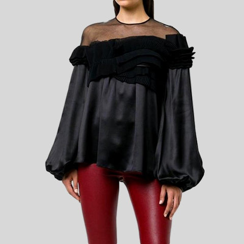 Irregular Lace Up Slash Neck Off Shoulder Long Sleeve Top