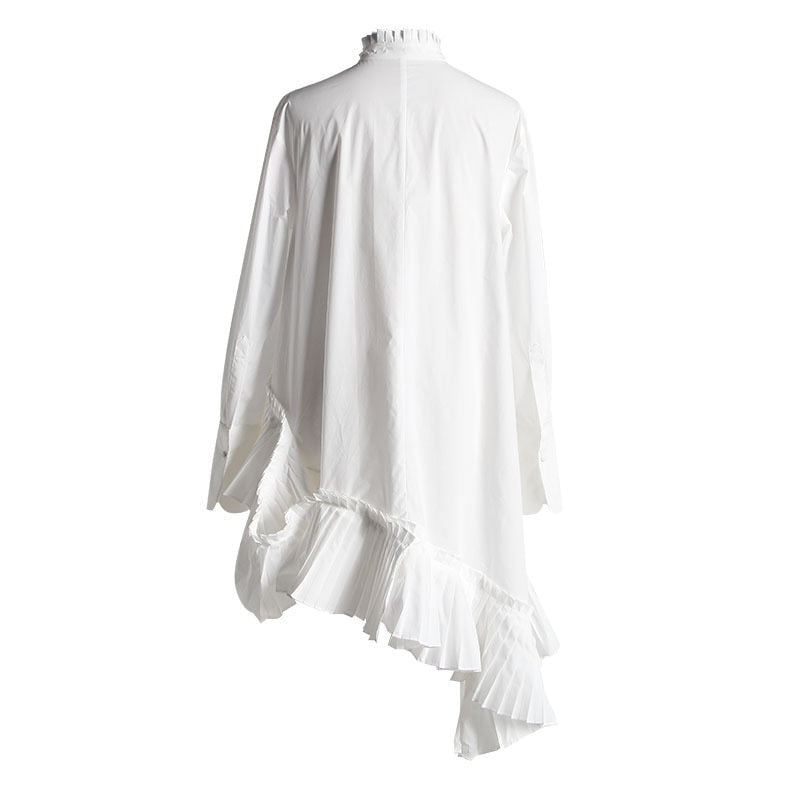 Stand Collar Long Sleeve White Loose Irregular Hem Pleated Loose Top