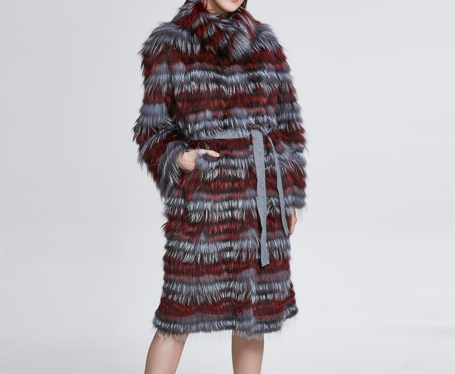 Fashion Belt Real Silver Fox Fur Coat