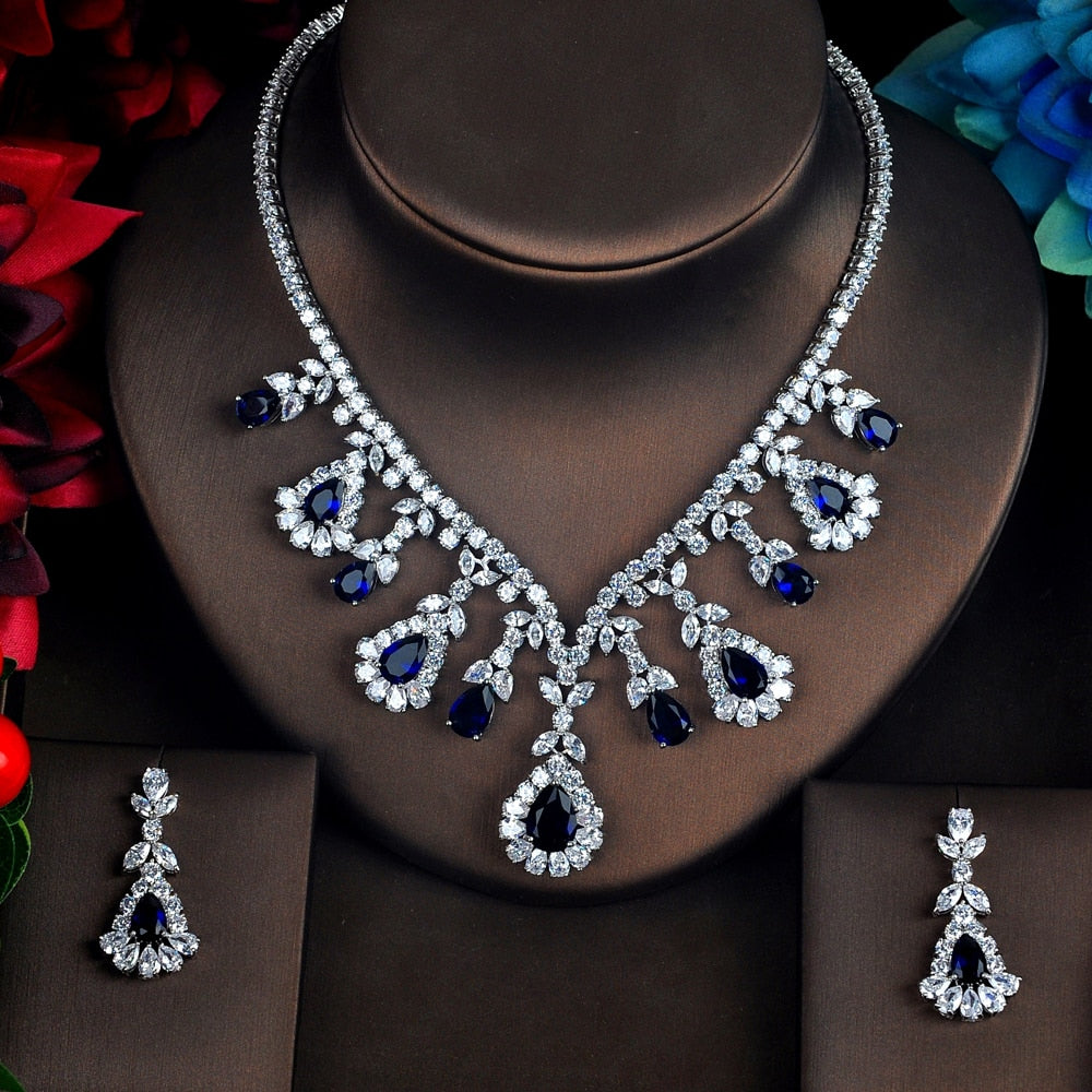 High Quality White And Red Cubic Zircon Pendant Jewelry Sets