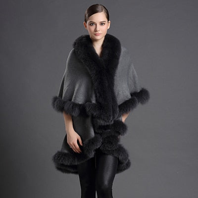 Genuine Fox Fur Collar Coat  Poncho