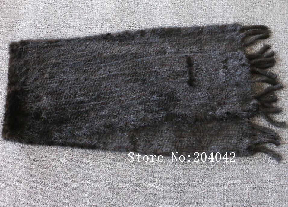 Real Mink Fur Long Warm Natural Knitted Mink Fur Cape Scarf