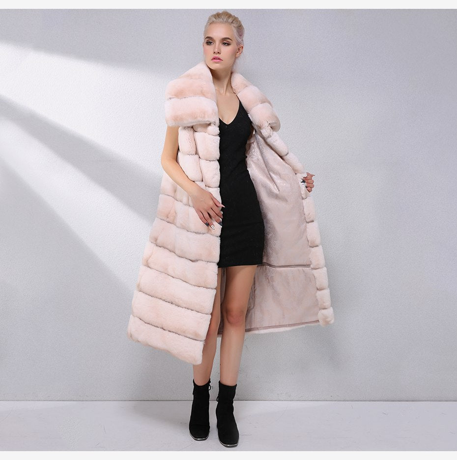 Long Natural Rex Rabbit Fur Dual use Collar Vest