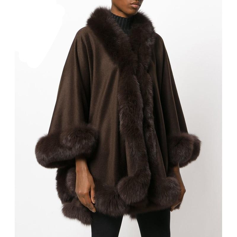Natural Fox Fur Collar Cashmere Poncho