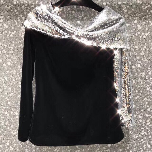 Sequined Patchwork Off Shoulder Velvet Top