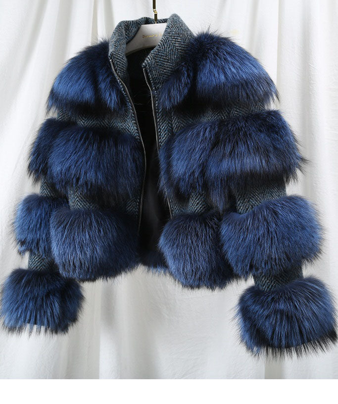 Natural Raccoon Fur Collar Woolen Coat