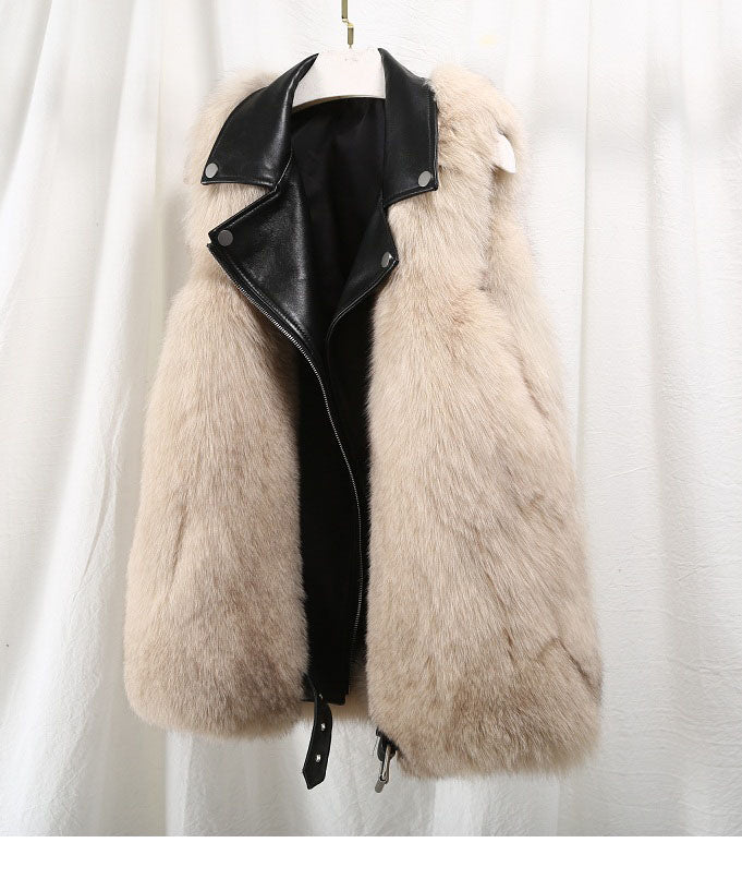Natural Fox Fur Patchwork Genuine Leather jacket