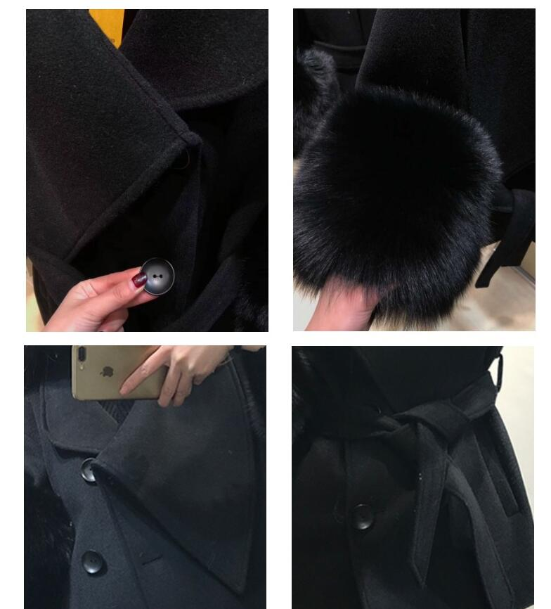 Luxurious Plush black Color  With Big Natural Fox Fur Cuff  Coat