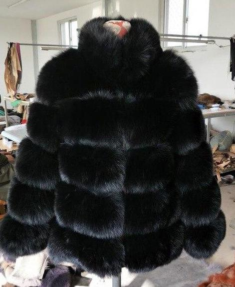 Luxury Design Natural Fox Fur Coat