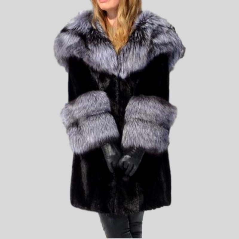 sports shoes factory price new arrivals Genuine Mink Fur With Silver Fox Fur Hood Collar and Fox Sleeved Coat
