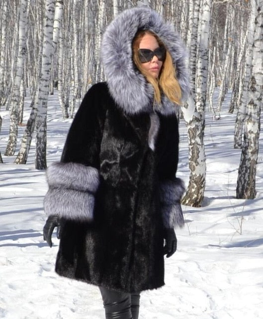 Genuine Mink Fur With  Silver Fox Fur Hood Collar and Fox Sleeved Coat