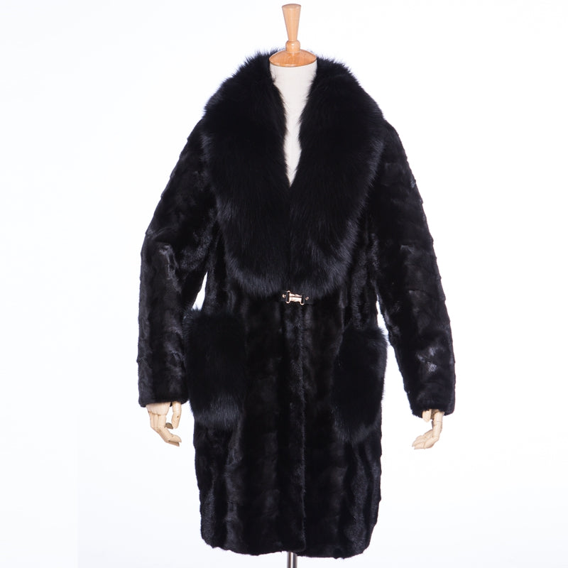 Genuine Sliced Mink Fur Fox Fur Collar Coat