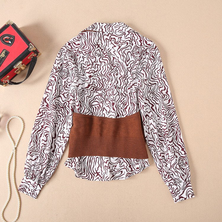 New Autumn Sets Fashion Printed Blouse Shirts with Empire Solid Color Skirts Female 3 Piece Set Women Vintage Clothing Suit